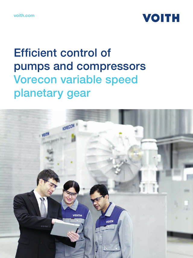 Efficient control of pumps and compressors. Vorecon variable speed plantery gear