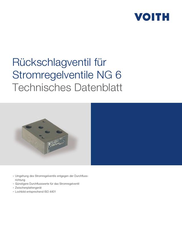 Rückschlagventil für Stromregelventile NG 6
