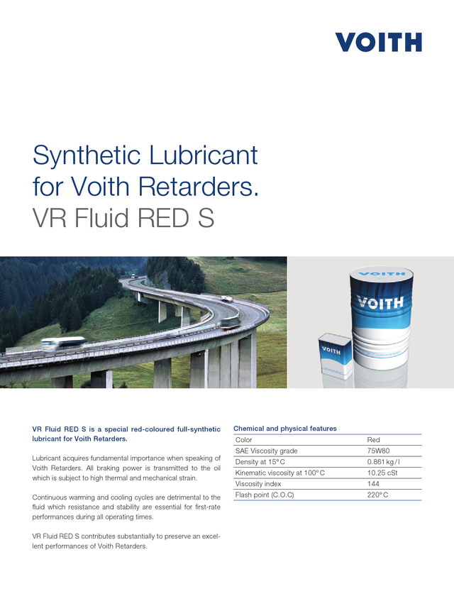 Synthetic Lubricant for Voith Retarders. VR Fluid RED S