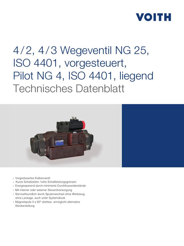 4/2, 4/3 Wegeventil NG 25, ISO 4401, vorgesteuert, Pilot NG 4, ISO 4401, liegend