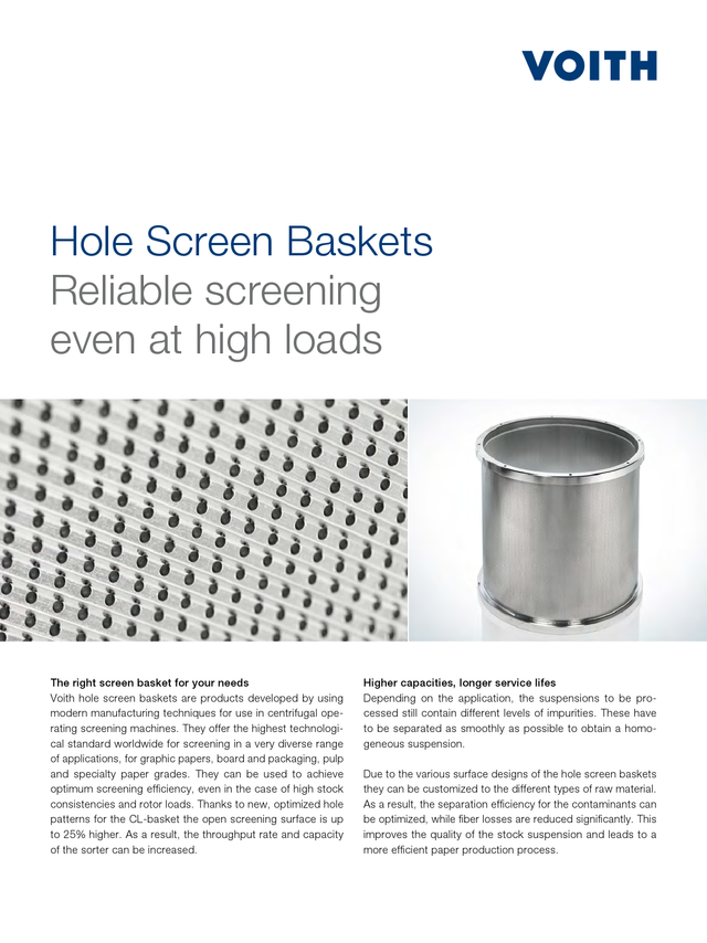 Hole Screen Baskets - Reliable Screening even at high loads