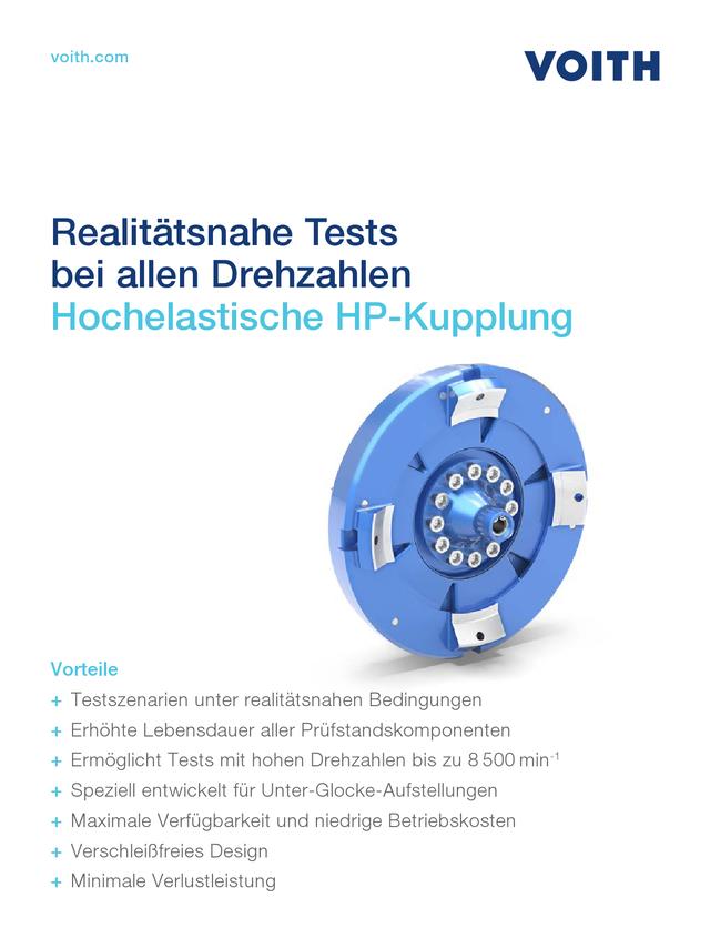 Realitätsnahe Tests bei allen Drehzahlen - Hochelastische HP-Kupplung