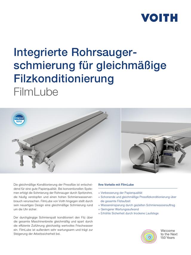 Integrierte Rohrsaugerschmierung für gleichmäßige Filzkonditionierung. FilmLube