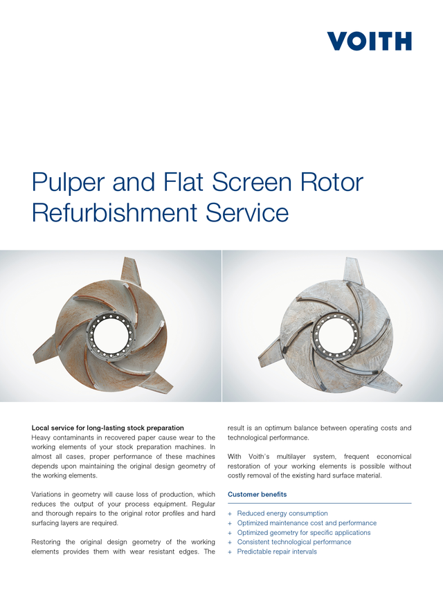 Pulper and Flat Screen Rotor Refurbishment Service