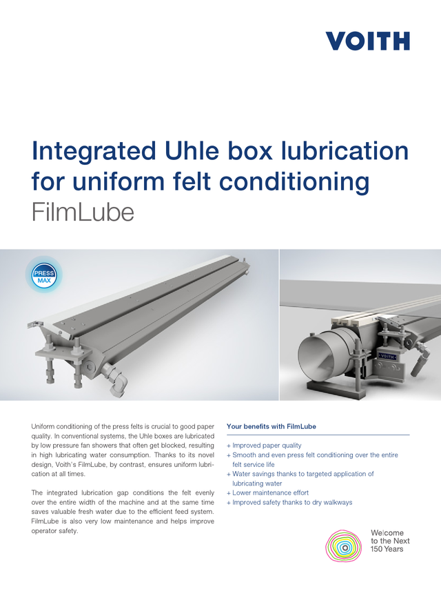 Integrated Uhle box lubrication for uniform felt conditioning. FilmLube