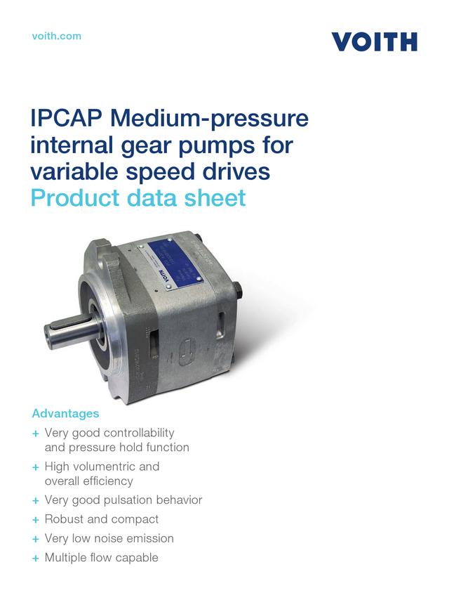 IPCAP Medium-pressure Internal Gear Pumps for Variable Speed Drives