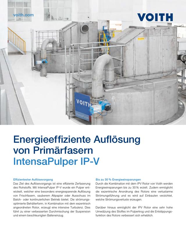 Energieeffiziente Auflösung von Primärfasern – IntensaPulper IP-V
