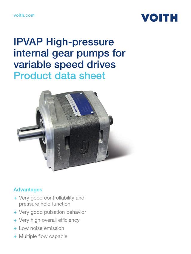 IPVAP High-pressure Internal Gear Pumps for Variable Speed Drives