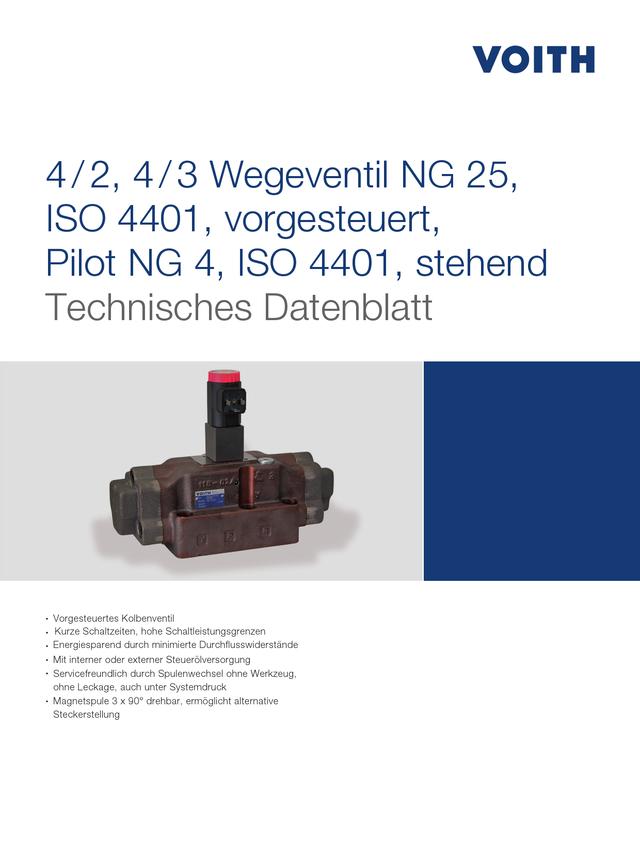 4/2, 4/3 Wegeventile NG 25, ISO 4401, vorgesteuert, Pilot NG 4, ISO 4401, stehend