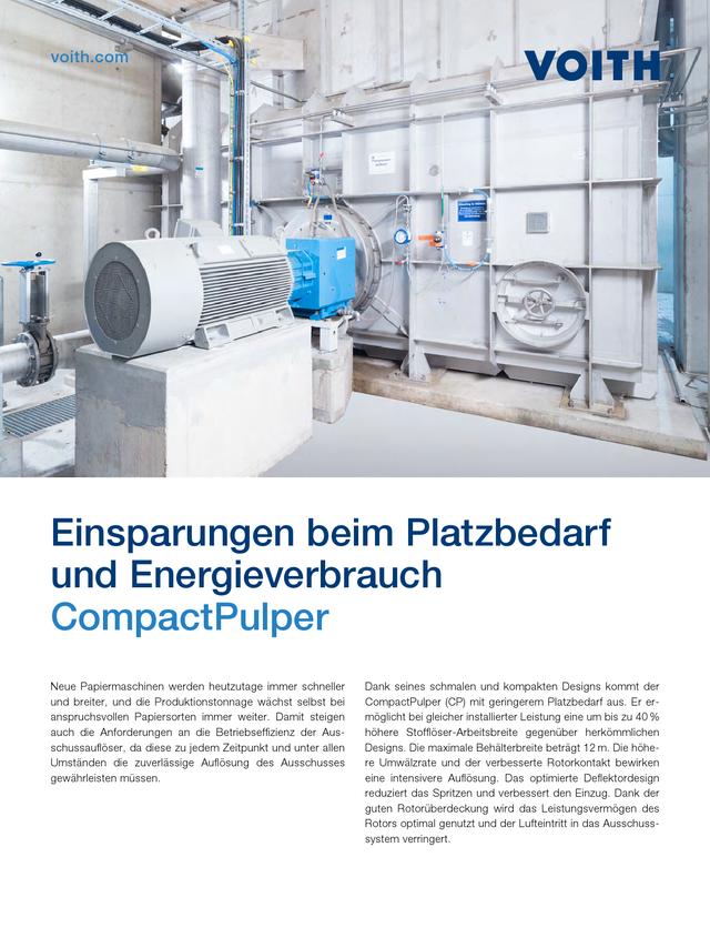 Einsparungen beim Platzbedarf und Energieverbrauch – CompactPulper