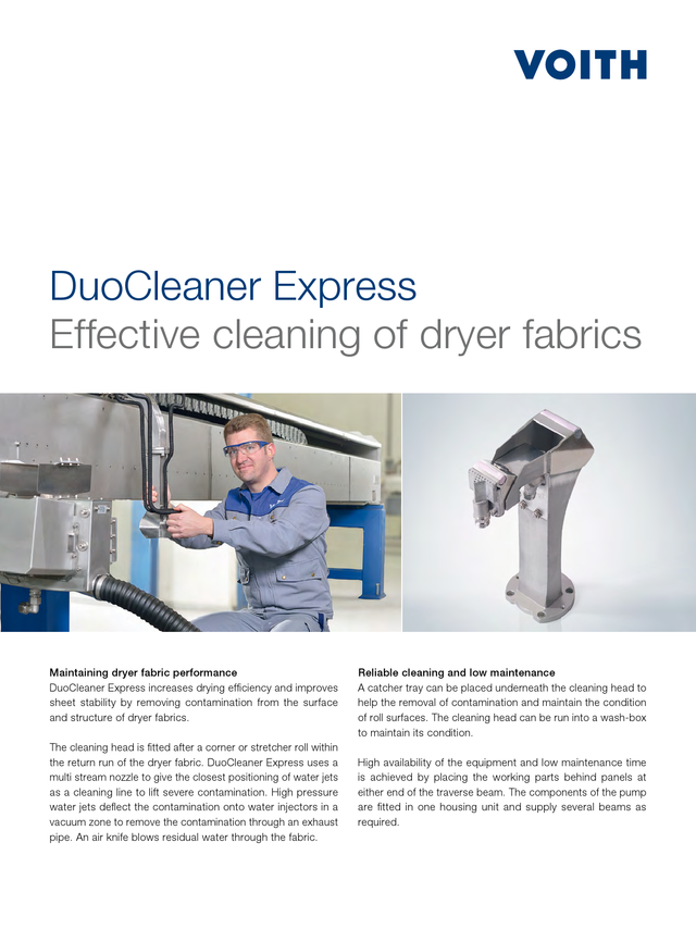 DuoCleaner Express - Effective cleaning of dryer fabrics