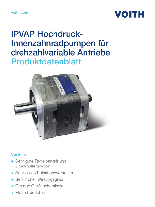 IPVAP Hochdruck-Innenzahnradpumpen für drehzahlvariable Antriebe