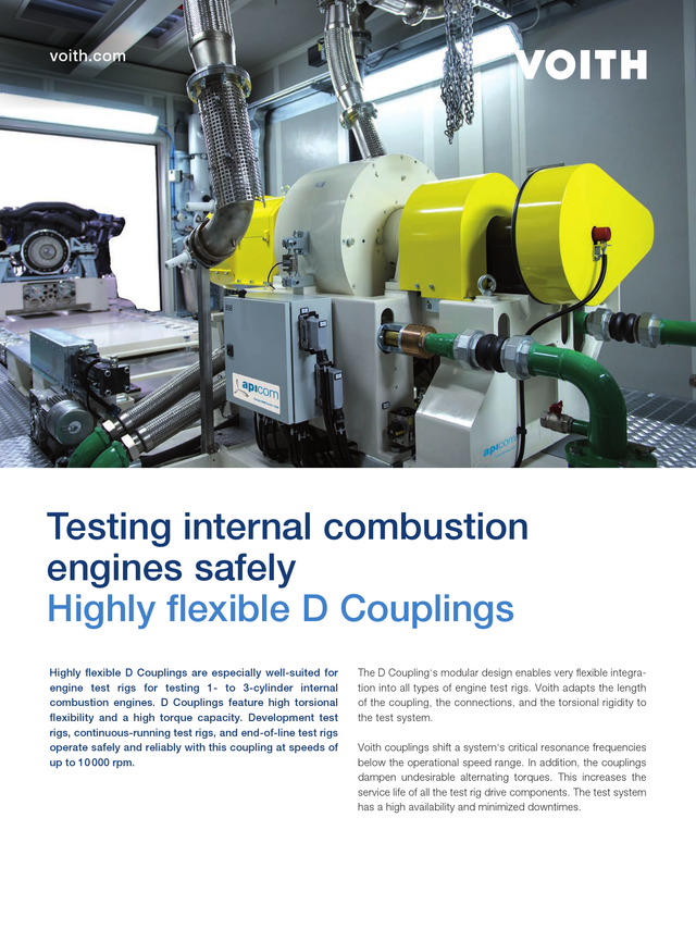 Testing internal combustion engines safely - Highly flexible D Couplings