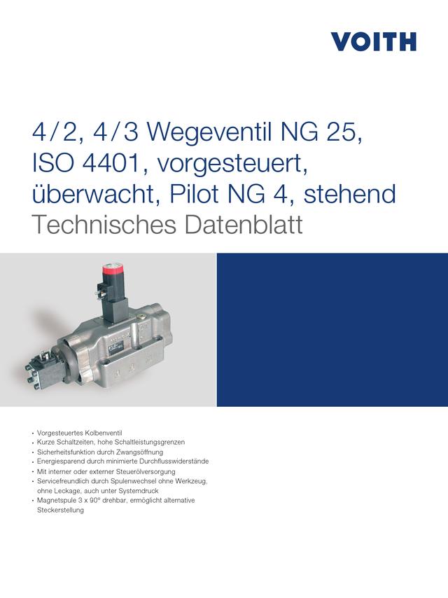 4/2, 4/3 Wegeventile NG 25, ISO 4401, vorgesteuert, überwacht, Pilot NG 4, stehend