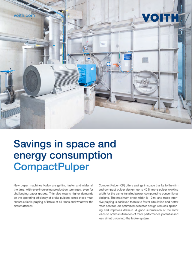 Savings in space and energy consumption – CompactPulper