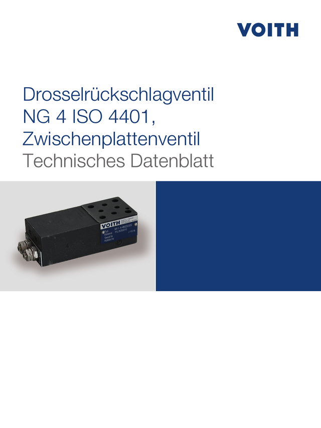 Drosselrückschlagventil NG 4 ISO 4401, Zwischenplattenventil
