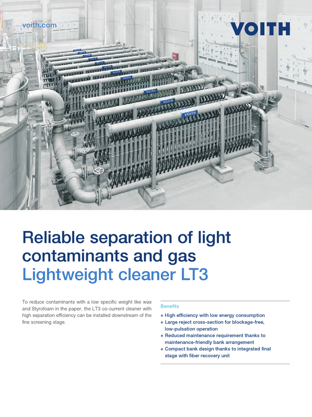 Reliable separation of light contaminants and gas – Lightweight cleaner LT3