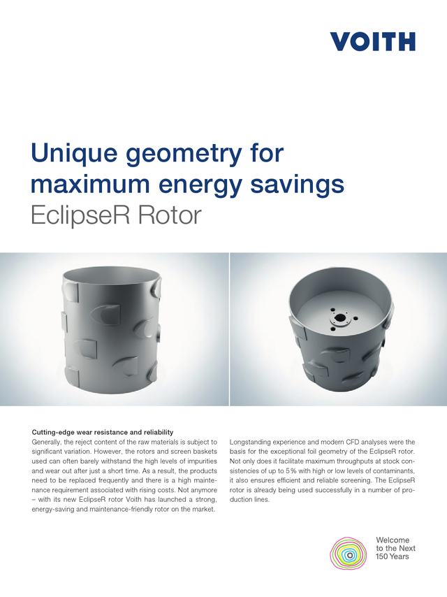 Unique geometry for maximum energy savings. EclipseR Rotor