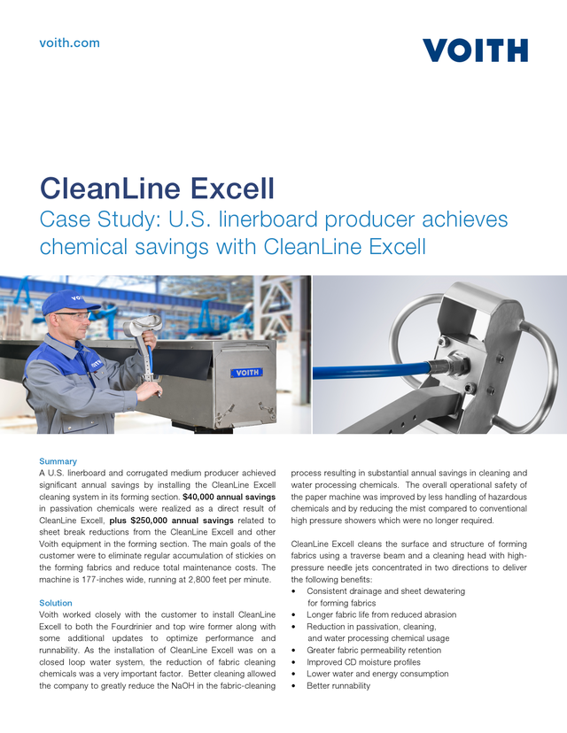 Case Study: U.S. linerboard producer achieves chemical savings with CleanLine Excell