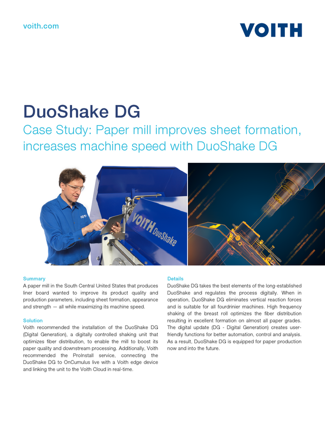 Case Study: Paper mill improves sheet formation, increases machine speed with DuoShake DG