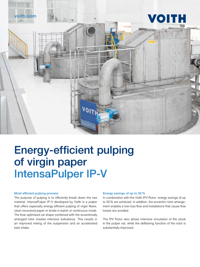 Energy-efficient pulping of virgin paper – IntensaPulper IP-V