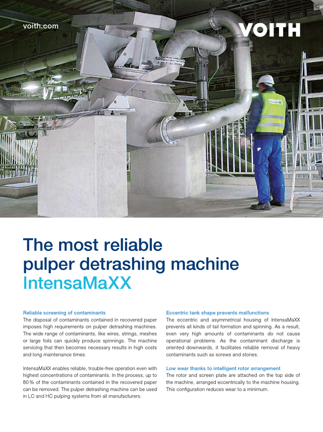 The most reliable pulper detrashing machine – IntensaMaXX