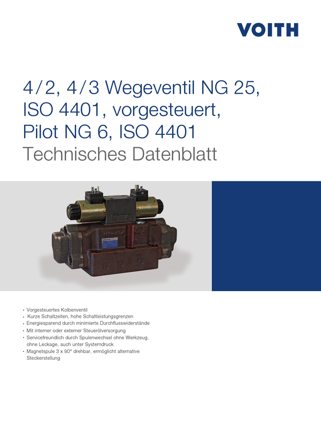 4/2, 4/3 Wegeventil NG 25, ISO 4401, vorgesteuert, Pilot NG 6, ISO 4401