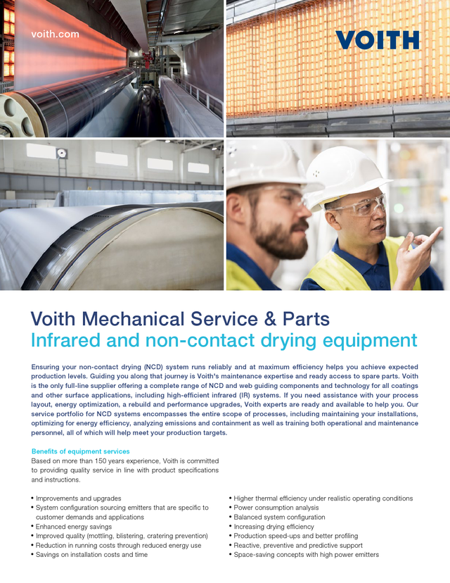Voith Mechanical Service & Parts Infrared and non-contact drying equipment