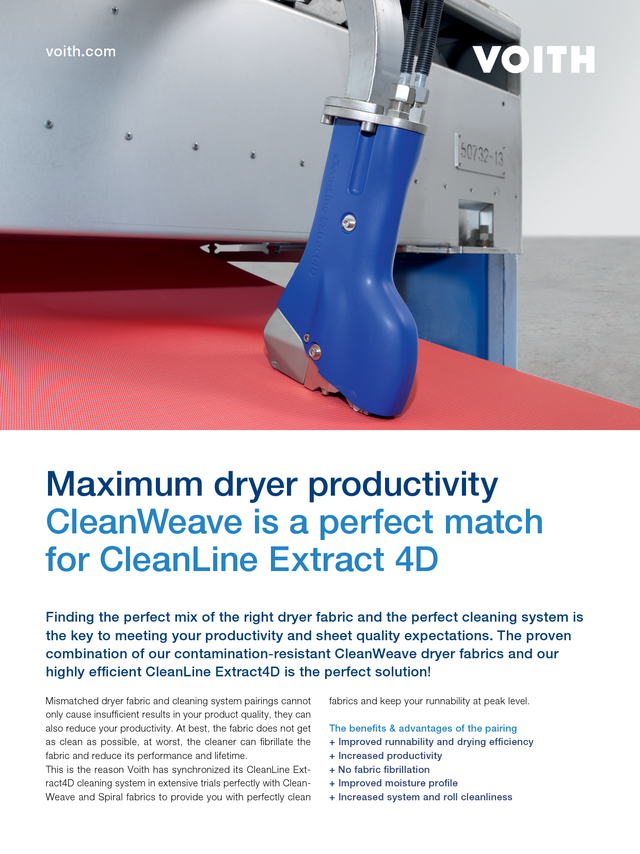 Maximum dryer productivity CleanWeave is a perfect match for CleanLine Extract 4D