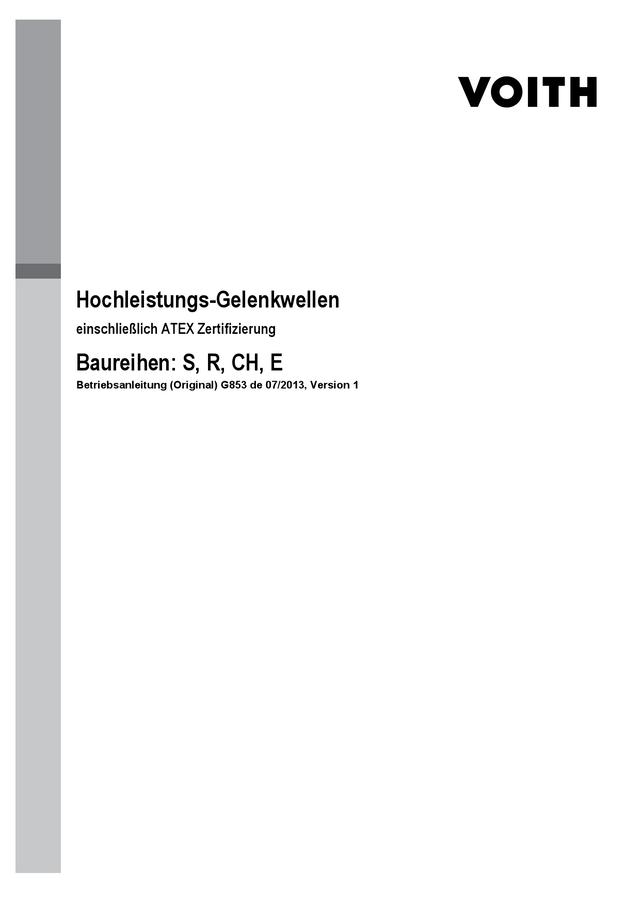 Hochleistungs-Gelenkwellen, Betriebsanleitung