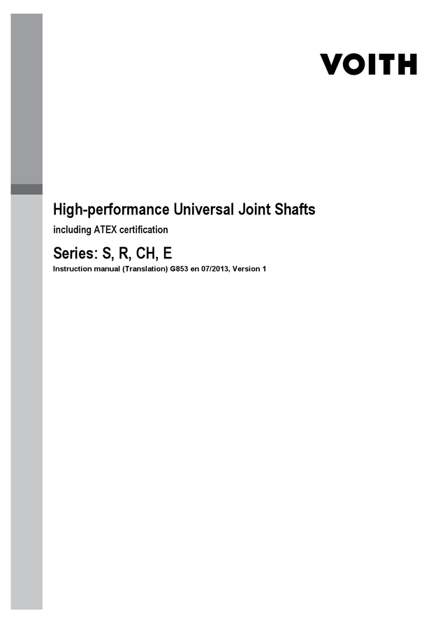 High-performance Universal Joint Shafts, Instruction Manual
