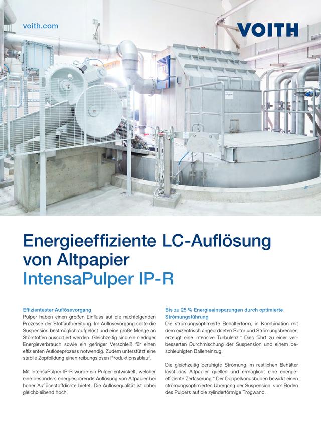 Energieeffiziente LC-Auflösung von Altpapier – IntensaPulper IP-R