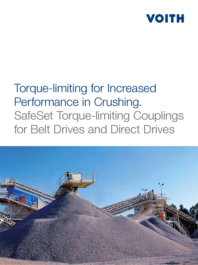 Torque limiting for increased performance in crushing  SafeSet torque limiting couplings for belt drives and direct drives