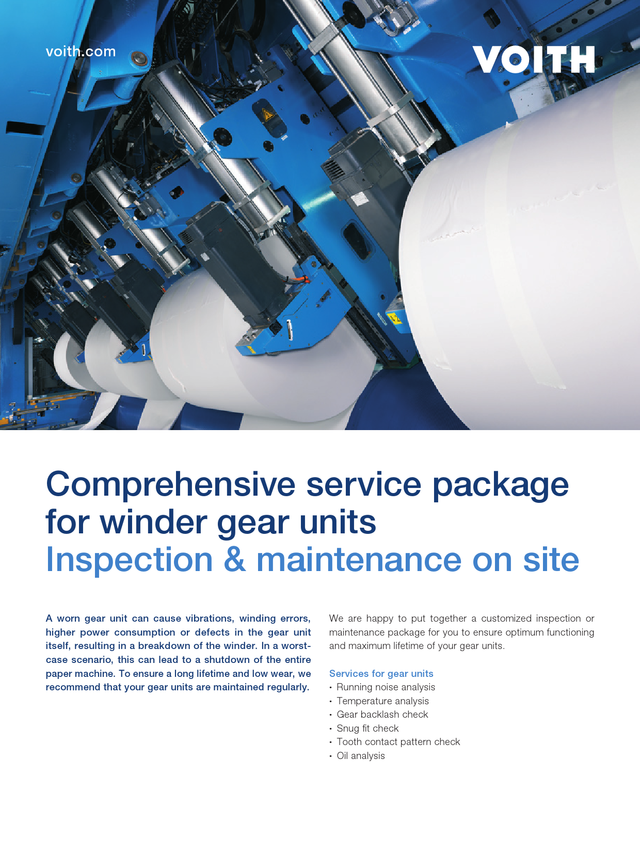 Comprehensive service package for winder gear units