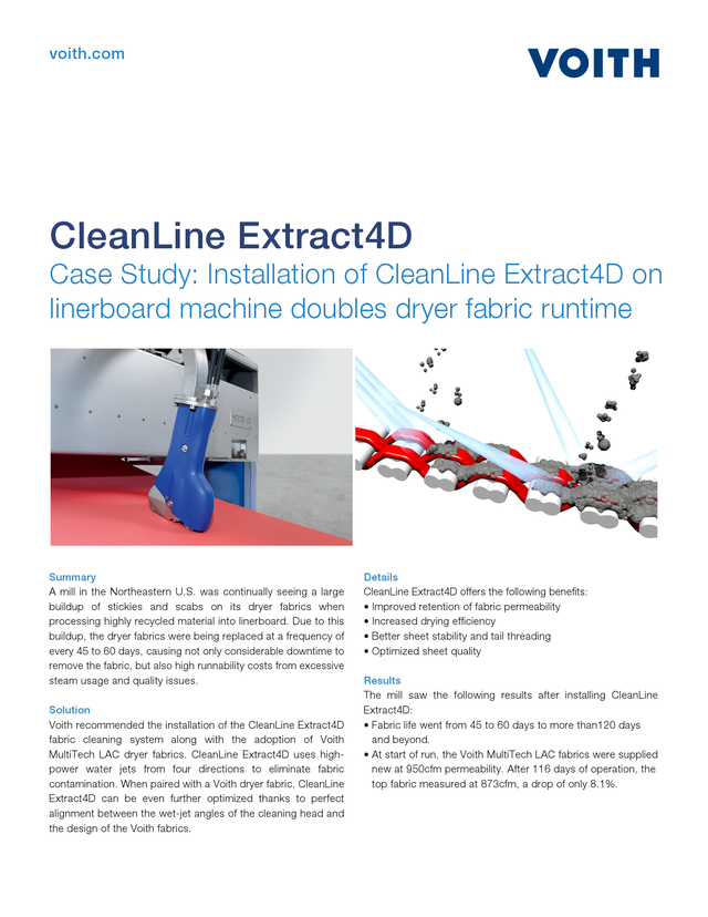 Case Study: Installation of CleanLine Extract4D on linerboard machine doubles dryer fabric runtime