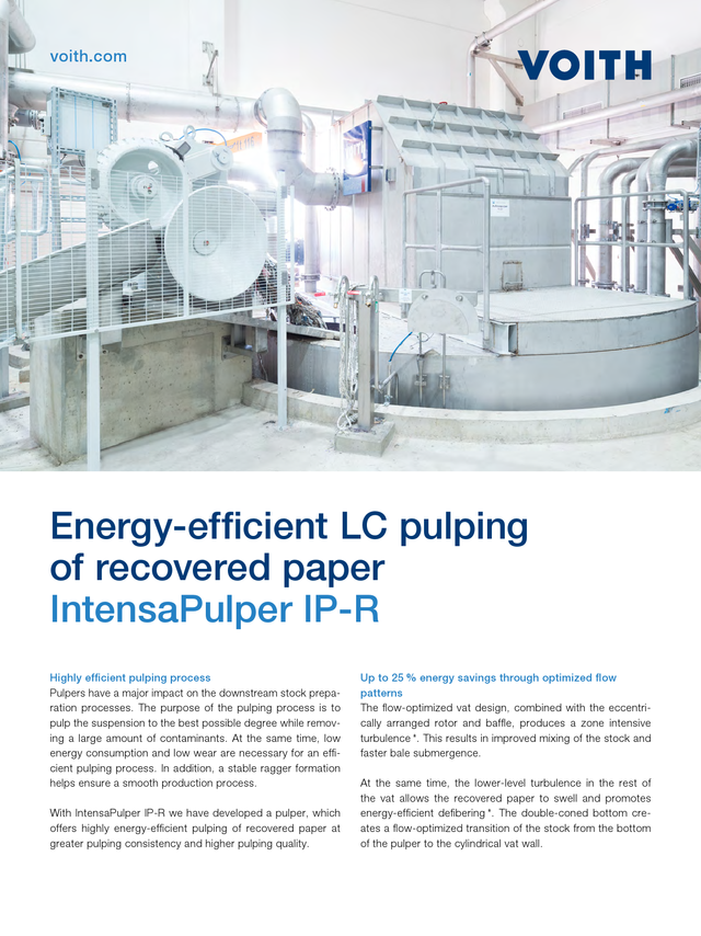 Energy-efficient LC pulping of recovered paper – IntensaPulper IP-R