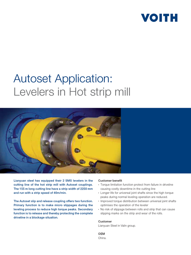 AutoSet application | Levelers in hot strip mill